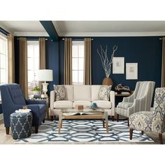 Blue Living Room Decor - What colors go with navy blue? Blue Living Room Decor - What colors go well with sky blue? Navy Living Rooms, Blue Living Room Decor, Coastal Living Rooms, Living Room Color Schemes, Living Room Grey, Formal Living Rooms, Home Living Room, Interior Design Living Room, Living Room Designs