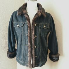 Denim Faux Fur Trim Jacket Dennis Basso Faux Fur Trim Denim Jacket ♦Black denim wash color with brown-black tone fur ♦Tag says xsmall, could also fit small  ♦Good condition, preloved with light wear  ♦Measurements: 24in from shoulder to bottom hem  20-21in from underarm to underarm Dennis Basso Jackets & Coats