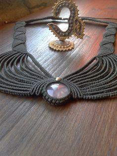 Pink Quartz cabochon handmade macramé necklace by byLaughingBuddha, €50.00