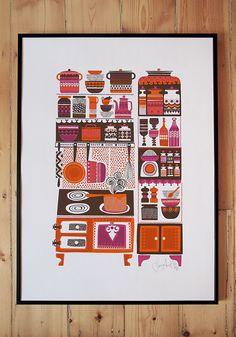 print called 'Mummola' by artist Sanna Annukka. This is a 5 colour 50 x 70cm screenprint on 305GSM Fabiano paper