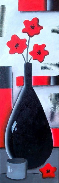 Tableau nature morte - tableau moderne vase noir et coquelicots - tableau peinture contemporaine : Peintures par sabrina-riggio