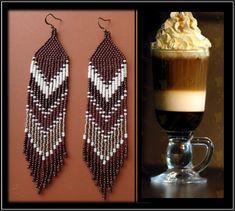 Mochaccino... boucles d'oreilles de longues franges perlées. Inspiration Amérindienne. Couleurs chaudes d'un bon Mokaccino. Rocaille