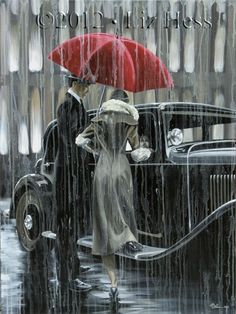 Red umbrella paintings and works of art by Liz Hess Umbrella Art, Under My Umbrella, Walking In The Rain, Singing In The Rain, Rainy Night, Rainy Days, Arte Black, I Love Rain, Rain Art