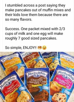 Making pancakes from muffin mix Breakfast Dishes, Breakfast Recipes, Snack Recipes, Cooking Recipes, Breakfast Time, Breakfast Cookies, Oven Recipes, Vegetarian Cooking, Easy Cooking