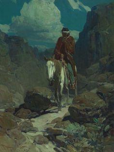 "FRANK TENNEY JOHNSON  Through the Night   Oil on Canvas24"" x 18"""
