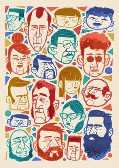 Faces by jorge lawerta, via behance illustration & graphic d Art And Illustration, People Illustration, Portrait Illustration, Character Illustration, Illustrations Posters, Illustration Fashion, Fashion Illustrations, Art Sketches, Art Drawings