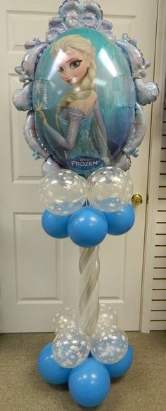 Air filled balloon column. Elsa with Anna on backside. www.itspartytimeandrentals.com