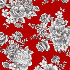 Cotton Quilt Fabric French Laundry Large Floral Black Red White