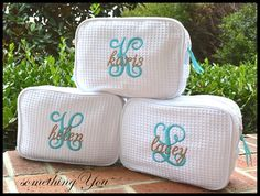 Personalized Initial and Name Cosmetic Bag - DOUBLE compartment Personalized Waffle Weave bridesmaids makeup case wedding shower monogrammed