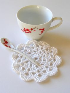 white Handmade Doily Crochet Coaster Set of 4 approx by SNOflowers, $10.00