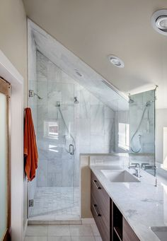 attic bathroom ideas attic bathrooms small attic bathroom sloped ceiling best sloped ceiling bathroom ideas on tiny attic bathroom attic bathroom remodel ideas Sloped Ceiling Bathroom, Small Attic Bathroom, Loft Bathroom, Upstairs Bathrooms, Bathroom Renos, Bathroom Ideas, Bathroom Marble, Shower Bathroom, Shower Door