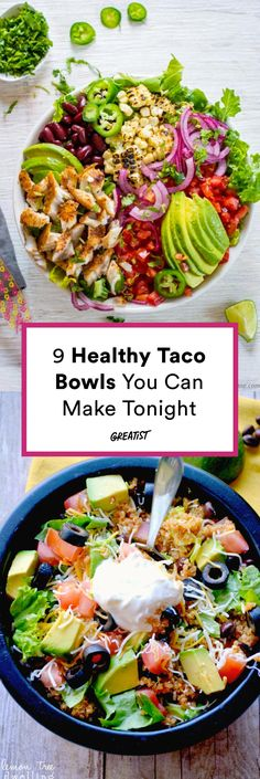 Taco Tuesday gets expensive, so we like to make taco bowls at home. Whether you're vegan or craving beef, one of these healthy taco bowls will make your night. 9 Healthy Taco Bowls for When You Want to Ditch the Shell - Healthy Tacos, Healthy Drinks, Healthy Eating, Healthy Life, Healthy Steak, Mexican Food Recipes, Vegetarian Recipes, Cooking Recipes, Healthy Recipes