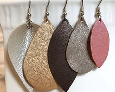 Leather Earrings - NEW SPRING COLORS for the Metallic Collection - Teardrop - Leaf - Pearl - Brushed Gold - Petal Pink - Stainless Steel