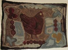 Primitive Wool Hooked Rug - Antique Hen ebay 245.00