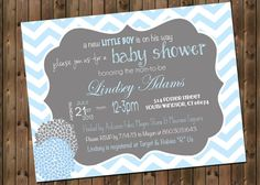 Baby Boy Shower Invitation, Chevron Invitation Blue and Grey, Digital File,  PRINTABLE on Etsy, $12.00