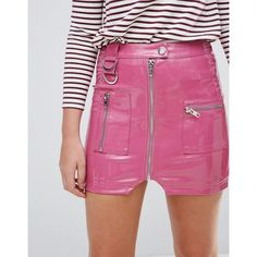 ASOS Premium Vinyl Mini Skirt with Zip and D Ring Detail (€42) ❤ liked on Polyvore featuring skirts, mini skirts, pink skirt, bodycon mini skirt, pink vinyl skirt, prom skirt and party skirts