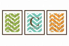 Nursery Wall Art Prints with Baby Monogram, ABC, 123 Chevron SET of 3 8x10 Nursery or Kids Room Decor - Leaf Green, Sea & Tangerine Orange. $40.00, via Etsy.