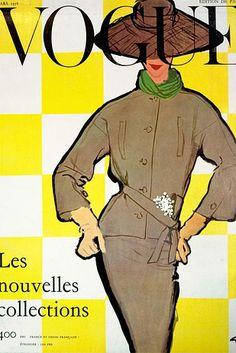 René Gruau, Vogue cover, March 1956 issue.