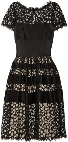 Silk Blend Satin And Lace Dress - Lyst