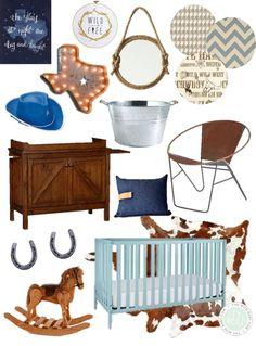 Texas Cowboy Nursery inspiration, cowboy nursery, blue and brown nursery, western nursery, rustic nursery