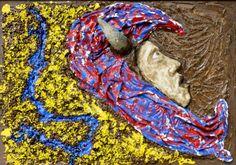 """gehörnt"" Künstler: DieterLinde Acryl, Lack, Styropor, Fliesenkleber auf Hofplatte #dieterlinde #malerei #acryl #crelala"