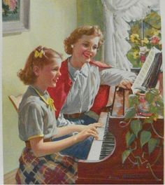 mother teaching daughter piano, awwwww, this is what I think we look like. Lol