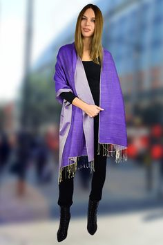 6ad497d2a Two Tone Reversible Pashmina Wrap in Blue and Purple#Pashmina #PashminaScarf#PashminaWrap#