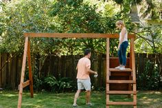 complete swing set frame Build A Swing Set, Swing Set Plans, Diy Swing, Swing And Slide, Outdoor Swing Sets, Diy Playground, Wooden Swings, Play Structures, Outdoor Structures