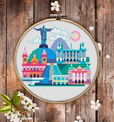 This is modern cross-stitch pattern of Rio-de-Janeiro for instant download. A cool tip to decorate your living room.  You will get 5-pages PDF file, which includes: - main picture for your reference; - colorful scheme for cross-stitch; - list of DMC thread colors (instruction and