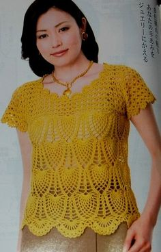 """YELLOW blouse with """"pineapple"""""""