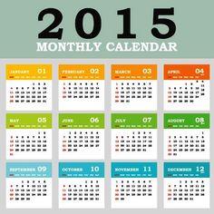 Block Style Metro Color 2015 Vector Calendar Template