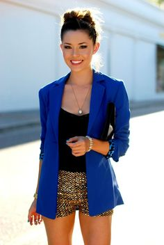 gold shorts and cobalt blazer