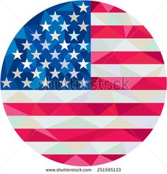 Low polygon style illustration of American flag stars and stripes set inside circle