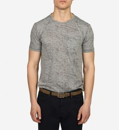SS Burnout Crew Knit by John Varvatos $98 | Look streetwise and slick in this John Varvatos burnout tee- an all season essential. The two tone treatment and soft fabrication lend a worn out, mildly vintage appearance that works with jeans, trousers and under jackets. | GOTSTYLE.ca