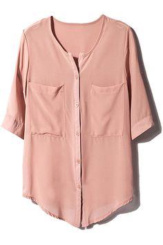 ROMWE | Scoop Neck Pink Shirt, The Latest Street Fashion