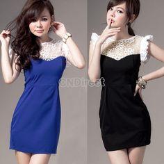 Women Round Neck Sleeveless Splicing Mini Dress