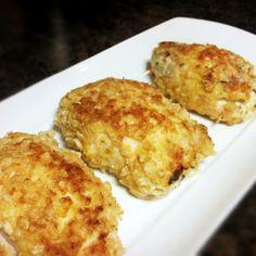 Cream Cheese Stuffed Chicken | My Gluten Free Foods ~ her coating is of flour, egg & Rice Krispies!!! Heh ... mmm <3
