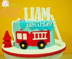 Fire Truck Cake by Flibby's Artisticakes  Vanilla Cake with chocolate buttercream filling and dark chocolate ganache