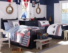 I like the wall treatment behind these beds