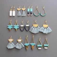 Summer staples from Rylee! #madeintheusa #davidaubrey Tassel Jewelry, Jewelry Wall, Jewelry Crafts, Tassel Earrings, Statement Jewelry, Wire Jewelry, Jewelry Box, Jewelery, Beaded Jewelry