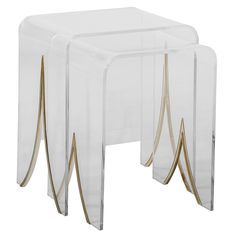 """The Gabby Magnolia nesting table set provides contemporary allure to modern spaces. These transitional waterfall-edged side tables feature transparent Lucite acrylic trimmed with antique brass metal. Set of 2; Antique brass metal and clear acrylic; Due to the handmade artistry of Gabby's collection, variation between individual products should be expected; Small: 17""""W x 15.5""""D x 22.5""""H; Large: 20.25""""W x 15.5""""D x 24""""H"""