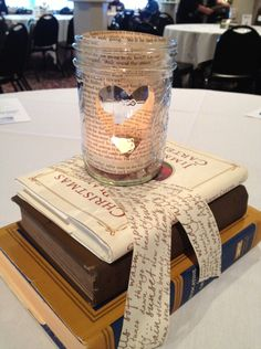 Stacked Tied Books With Centerpieces