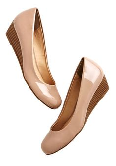 Commuter Genius Wedge in Beige - Low, Faux Leather, Cream, Solid, Work, Minimal, Good, Wedge, Basic