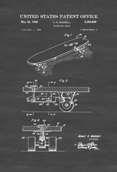 A patent print poster of a Skateboard Break invented by Albert O. Waddell as seen from different views. The patent was issued by the United States Patent Office on May A skateboard is a t… Skateboard Decor, Skateboard Photos, Skateboard Girl, Vintage Skateboards, Wall Art Prints, Poster Prints, Wall Posters, Chalkboard Decor, Patent Drawing
