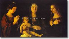 The artwork Madonna and Child with St. Mary Magdalene and St. Catherine - Giovanni Bellini we deliver as art print on canvas, poster, plate or finest hand made paper. High Renaissance, Renaissance Artists, Naples Museum, Agony In The Garden, Catherine Of Alexandria, Giovanni Bellini, Sainte Catherine, Web Gallery Of Art, Bellinis