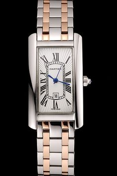 82d689e1acd Cartier Tank Americaine White Dial Stainless Steel Case Two Tone Bracelet Cartier  Replica