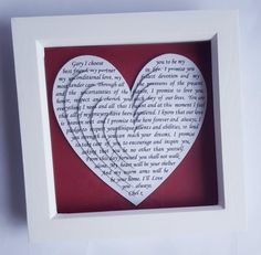 Items similar to Custom Wedding Art Photo Art or Personalized Anniversary Gift using YOUR Wedding Vows or First Dance Song. 1st Anniversary Gifts, Paper Anniversary, Wedding Vows, Wedding Gifts, Heart Frame, Diy Ribbon, Wedding Frames, Paper Gifts, Colorful Decor
