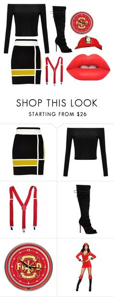 """""""Fire Fighter"""" by lauren53103 on Polyvore featuring River Island, Gianvito Rossi, Buy Seasons, Lime Crime, firefighter and costue"""
