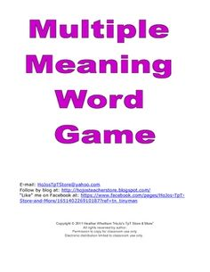 Do your students have trouble with multiple meaning words? If so, this is the activity for you!Print and cut out the 50 cards.