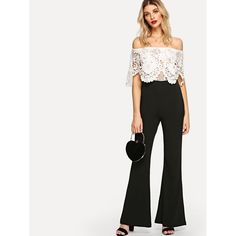 e2db7b592d02 Shop Lace Panel Off Shoulder Jumpsuit online. SHEIN offers Lace Panel Off  Shoulder Jumpsuit   more to fit your fashionable needs.